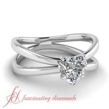 Heart Shaped Diamond Reverse Split Shank Solitaire Engagement Ring 0.60 Carat