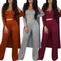 ❤️ Womens Ribbed Crop Top Vest +Pants+Long Cardigant Casual 3PCS Lounge Wear Set