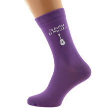 I'd Rather Be Playing with Guitar Image Printed on Ladies Purple Socks