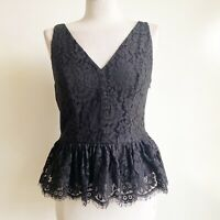 Robert Rodriguez Women's Black/Purple Metallic Lace Peplum Top Size 6