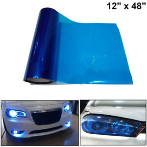 "Dark Blue Tint Vinyl Film Overlay Wrap Sheet For Headlight Fog Lights 12"" x 48"""