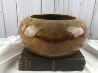 Frank Moreno Planter Vintage Ceramic Bowl Pottery Drip Glazed made USA 2 Brown