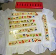 Wooden Educational game, English words,numbers, shapes, fruit veg
