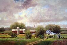 "Raymond Knaub, ""Spring Pastures"", 18.75""h x 28""w image, 23.5""h x 31""w overall"