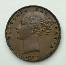 Dated : 1853 - Copper Coin - One Farthing - Queen Victoria - Great Britain