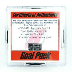 2020-21 Alexis Lafreniere New York Rangers Game-Used Goal-Scored Puck -8th Goal