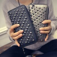 Womens Large Capacity Rivet Wallet Long Purse Phone Card Holder Clutch Pocket US