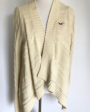 HOLLISTER CREAM IVORY LONG SLEEVE OPEN FRONT DRAPE CARDIGAN SMALL CABLE RIBBED