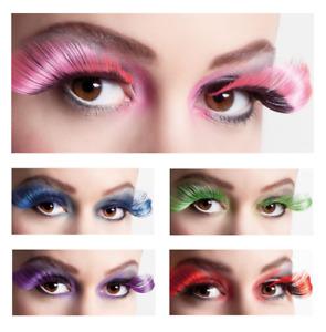 Künstliche Farbige XL Wimpern Flamboyant Eyelashes Party Fasching Cosplay Animé
