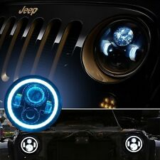 "2x 7"" Inch LED H4 H13 Headlight Angel Eyes Halo DRL White Blue Wrangler CJ TJ JK"