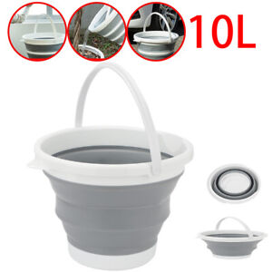 10L Collapsible Folding Plastic Silicon Bucket Kitchen Camping Garden Large