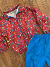 Vtg 80s 90s Colorful Funky Floral Nylon Windsuit Tracksuit Track Jacket L 14/16