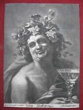 MEZZOTINTO di Anton Joseph Prenner: Dio Bacco 1728/Mezzotint van Dalen