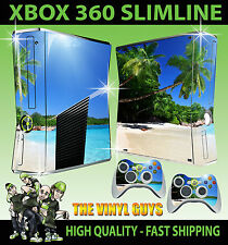 XBOX 360 SLIM STICKER TROPICAL BEACH PARADISE STYLE SKIN & 2 CONTROLLER PAD SKIN