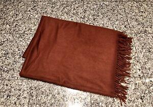 """100% Cashmere Brown Burnt Orange Blanket 59""""x 78"""""""