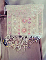 Vintage Beaded and Embroidered - Shoulder Bag / Purse - Pink 'and White - Zipper