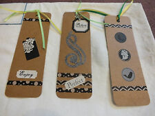 Beautiful Handmade Bookmarker Set 3 Black White Green Rhinestone Cross NICE