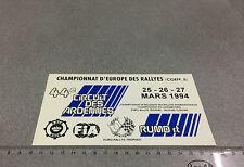 PLAQUE PVC 44EM RALLYE FIA CIRCUIT DES ARDENNES 1994 TROPHEE CITROEN RACB KACB