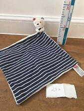 MOTHERCARE BLUE Whale Teddy  BAY BLANKIE STRIPY COMFORTER BABY SOFT TOY