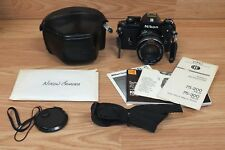 Genuine Vintage Nikon EM Film Camera With Macro Albinar ADC Lens + Case & Strap