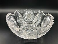 "Vintage American Brilliant Cut Glass Bowl, Pin Wheel Patterns, 7"" D, 3 1/4"" High"