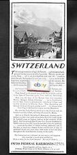 SWISS FEDERAL RAILROADS 1927 GENEVA ZURICH LUCERN JUNGFRAUJOCH SWITZERLAND AD
