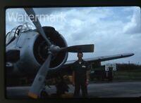 1964 kodachrome Photo slide Douglas A-1 skyraider Military Airplane Thailand 4