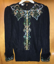 Vtg Med Elizabeth New York fancy Black Sweater Angora Sleeves Gold Silver Sequin