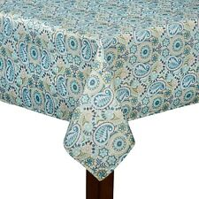 Traditions By Waverly Fabric Tablecloth Aqua Teal Printed Paisley Prism  Asst. Sz