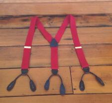 Vintage Leather Brass Red Elastic Suspenders Braces Mens Adjustable W Germany