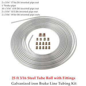 Brake Line Tubing 3/16 25 Foot Coil Roll Inverted Pipe Nut  Fittings  Universal