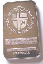 Pope John Paul ll Commemorative 1984 Papal Visit Canada .999 Fine 1oz Silver Bar