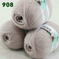 Sale Lot of 3 Skeins x50g LACE Soft Acrylic Wool Cashmere hand knitting Yarn 908