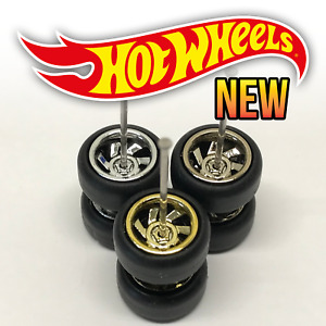 Hot Wheels SPIRAL 7 SPOKE Real Riders Wheels and Tires Set for 1/64 Scale