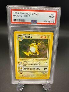 Pokemon Cards 1999 Base Set Unlimited Raichu Holo 14/102 PSA 9 MINT