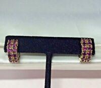 ESTATE Garnet earring 14K YELLOW GOLD Hoop Earrings Double Row of Garnets 4 cts