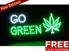 New Flashing Go Green Neon Light LED Marijuana Pot leaf plant weed bar decor