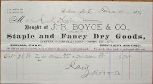 Helena, MT 1876 Letterhead: Dry Goods - J R Boyce & Co. - Montana Territory