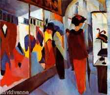 The Fashion Shop by August Macke 9x12 image on mono deluxe Needlepoint Canvas