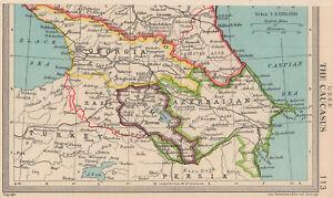 USSR Caucasus. Georgia Armenia Azerbaijan. 1914 border. BARTHOLOMEW 1949 map