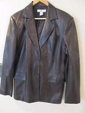 REAL CLOTHES Brown Very Soft Leather Lined Jacket Button Front Womens Size 12