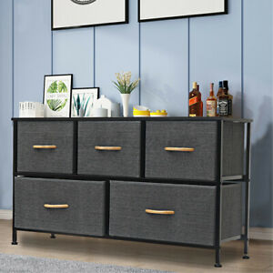 5 Drawers Dresser Chest of Fabric Wood Top Night Stand Home Organizer Storage