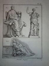 Gravure XVIIIe COURS DESSIN DRAPÉS DRAPERIE TISSUS 1780 Epoq LOUIS XVI DRAPERY b