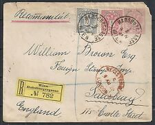 Austria 1888 uprated R-cover Wien/Hamburgergasse to Salisbury