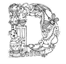 "Kelly O'Gorman - Children's Alphabet Fabric Panel - Mini Size 8"" x 8"" - D"