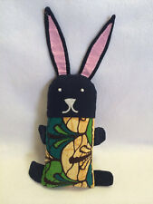 Dsenyo Bunny Rabbit Plush Stuffed Animal Handmade In Malawi African Navy Blue