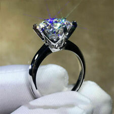 3.00Ct Moissanite Brilliant Cut Solitaire Engagement Ring 14K White Gold Over
