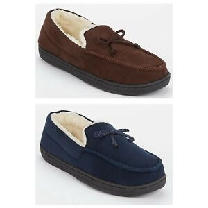 Mens Slippers Faux Suede Gents Fur Lined Comfort Winter Moccasins Shoes Size