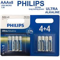 8x PHILIPS 1.5V AAA Ultra Alkaline Batteries LR03 AM4 R03 MICRO 1.5Volt Battery