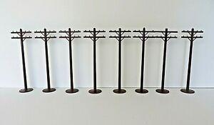 Vtg Model Railroad Scenery Telephone Telegraph Poles Brown Lot of 8 Pcs #0879